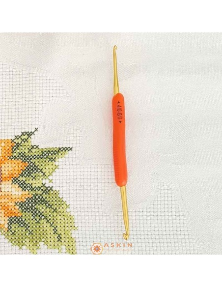 COLORED TRANSPARENT HANDLE DOUBLE WOOL Crochet