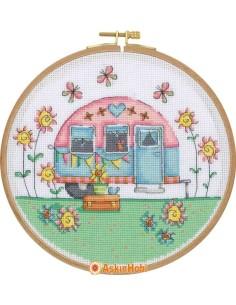 STITCH KITS Tuva Cross Stitch Kit With Wooden Hoop CCS04