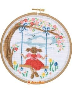 STITCH KITS Tuva Cross Stitch Kit With Wooden Hoop CCS08