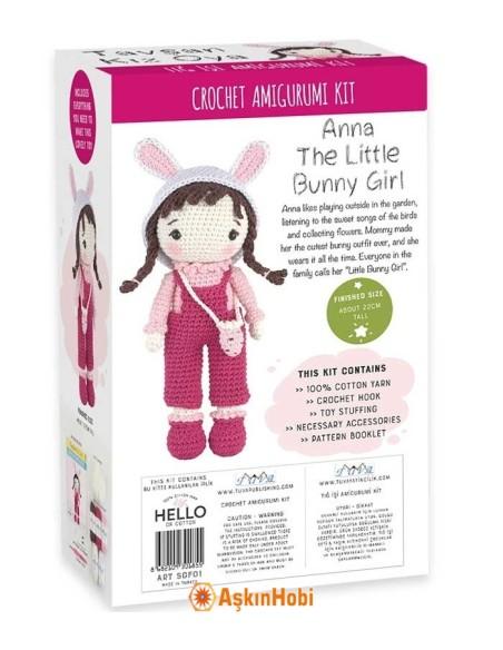 Crocheted Amigurumi Toys CROCHET WORK AMIGURUMI TOY KIT ANNA LITTLE BUNNY GIRL